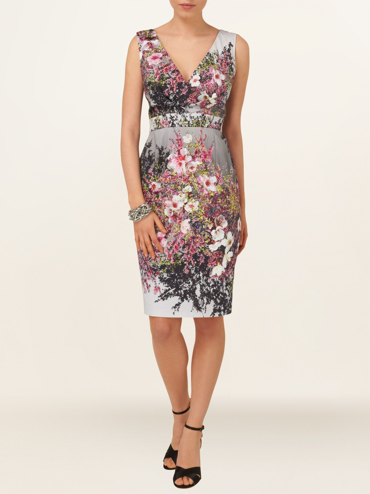 Blossom print pleat dress