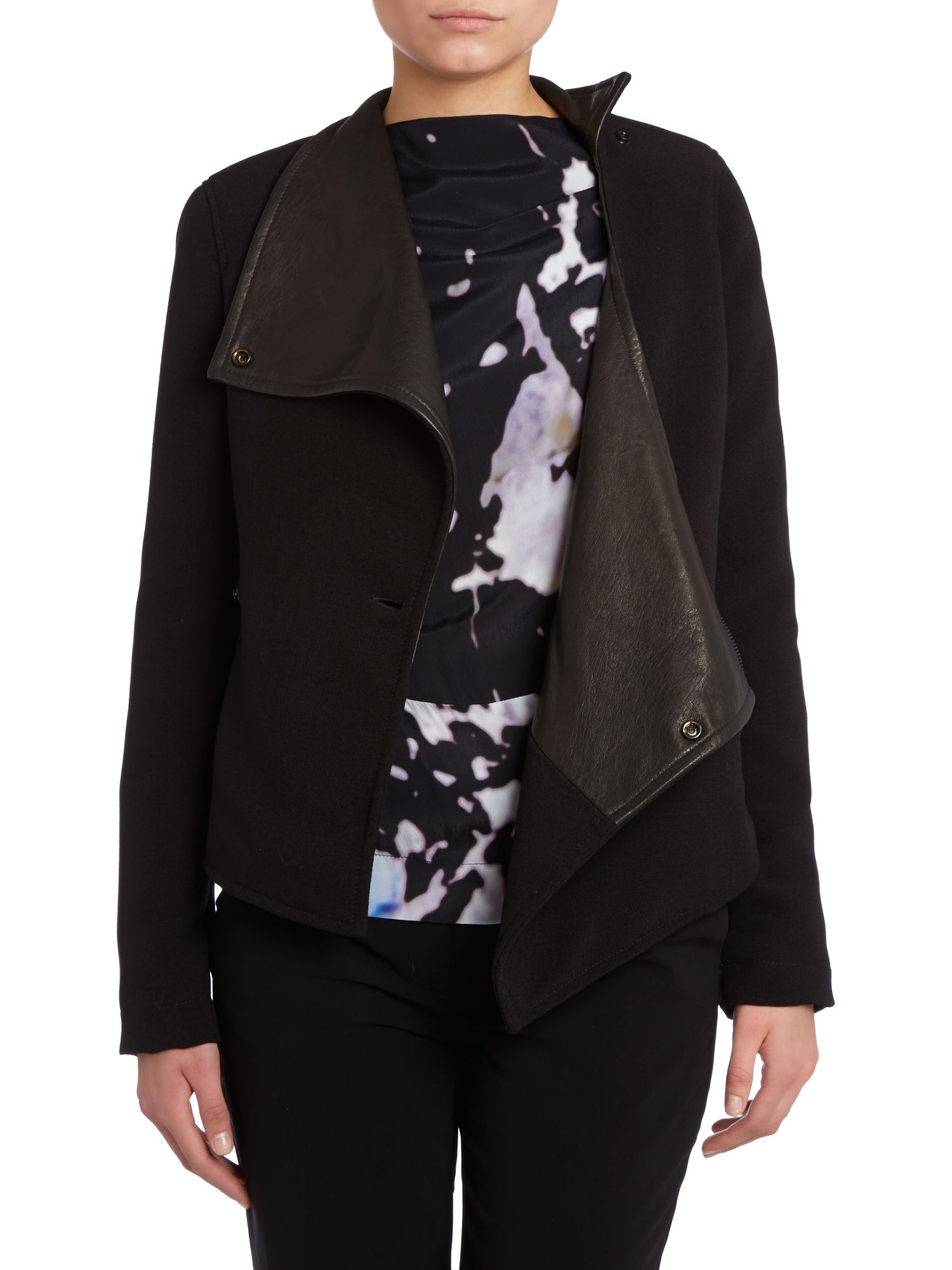 Voodoo asymmetric leather mix jacket