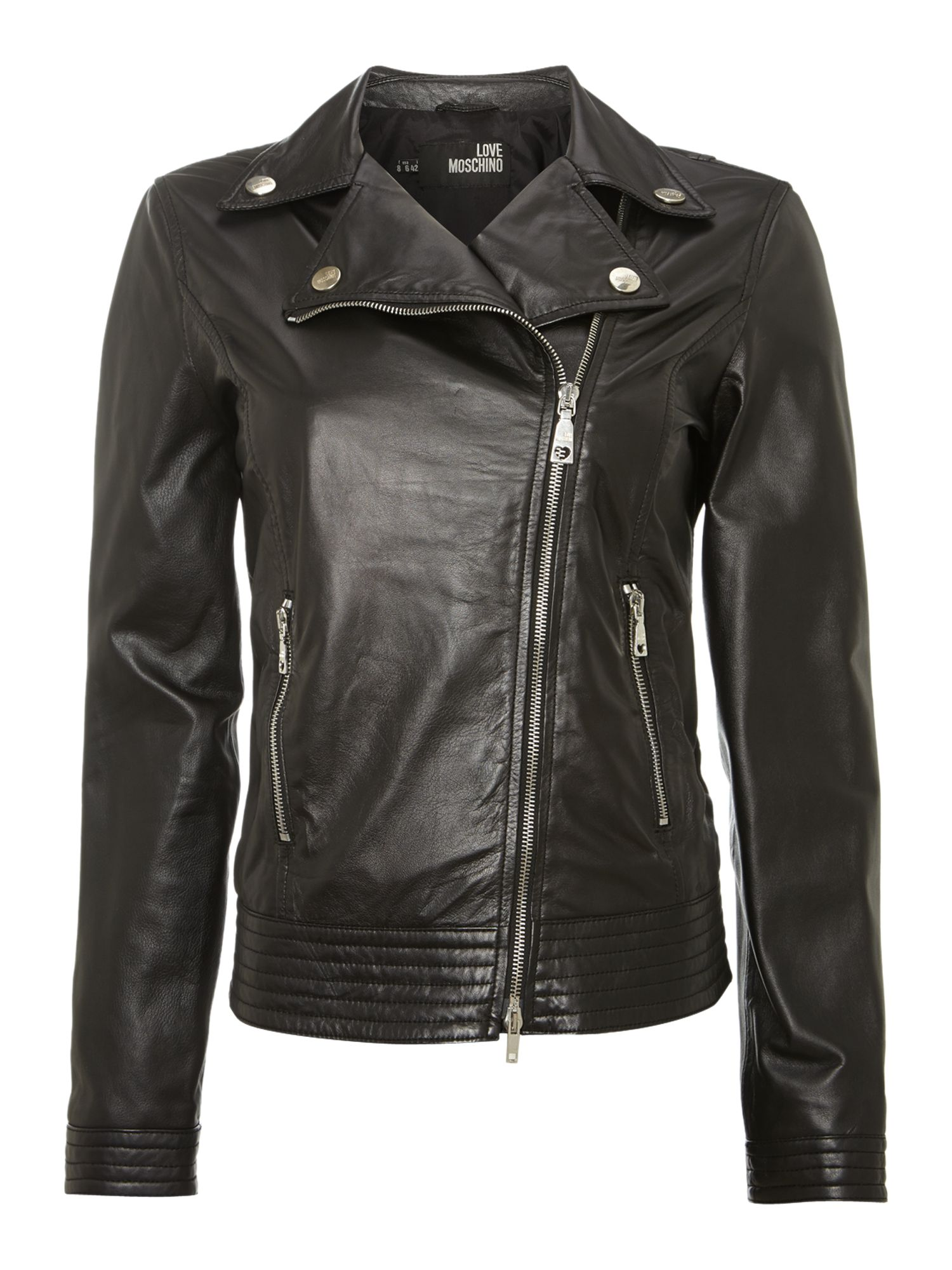 Love Moschino Leather biker jacket, Black