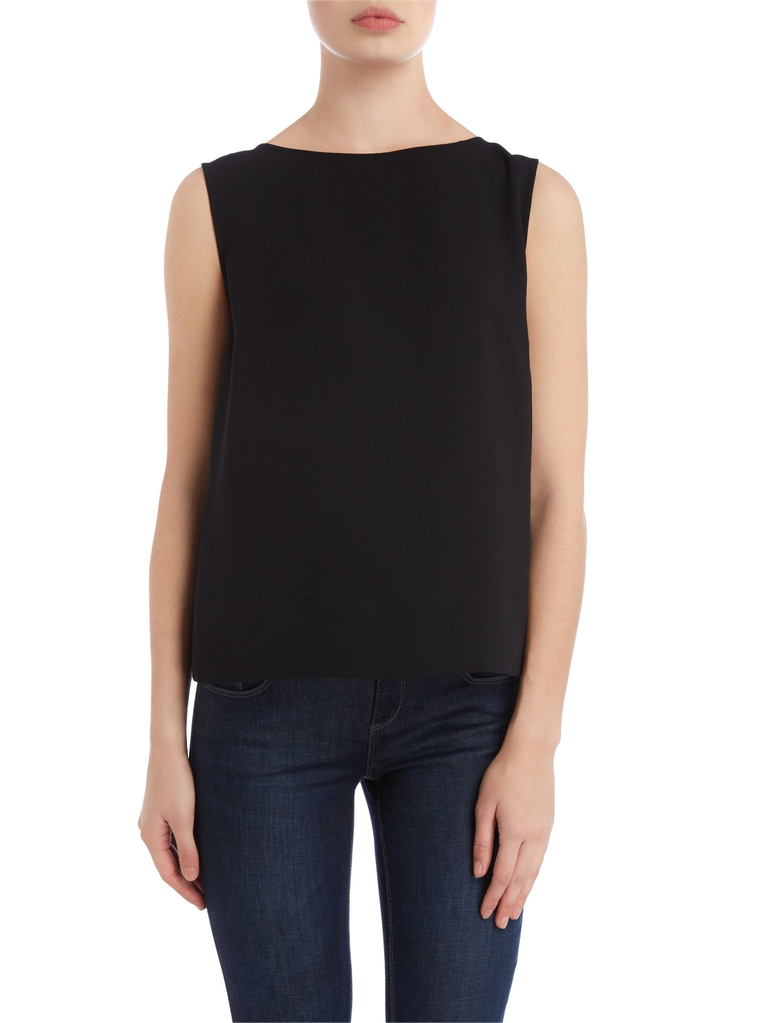 Sleeveless ruffle back top