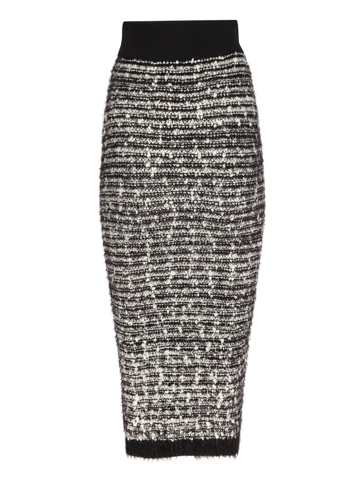 Knitted eyelash pencil skirt