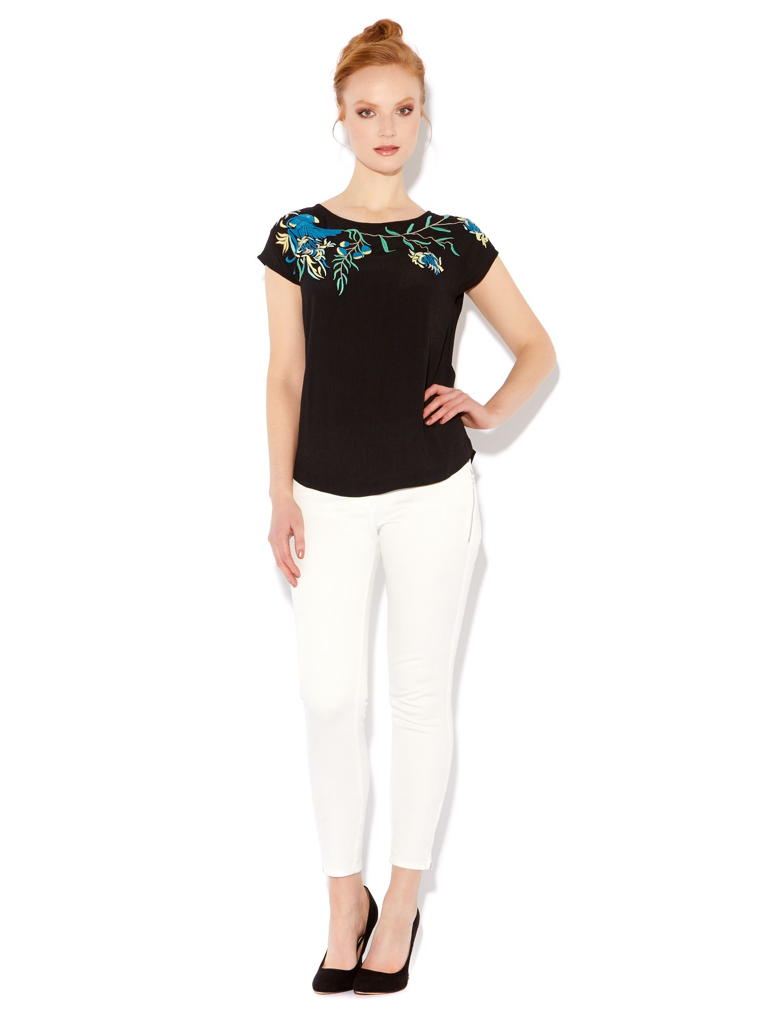 Embroidered bird top