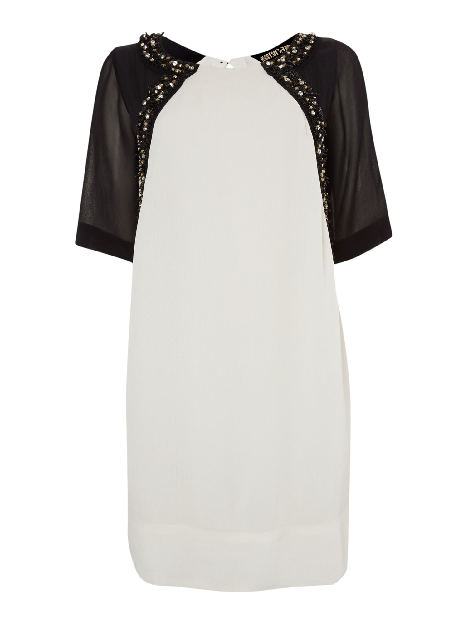 Jewelled front monochrome dress
