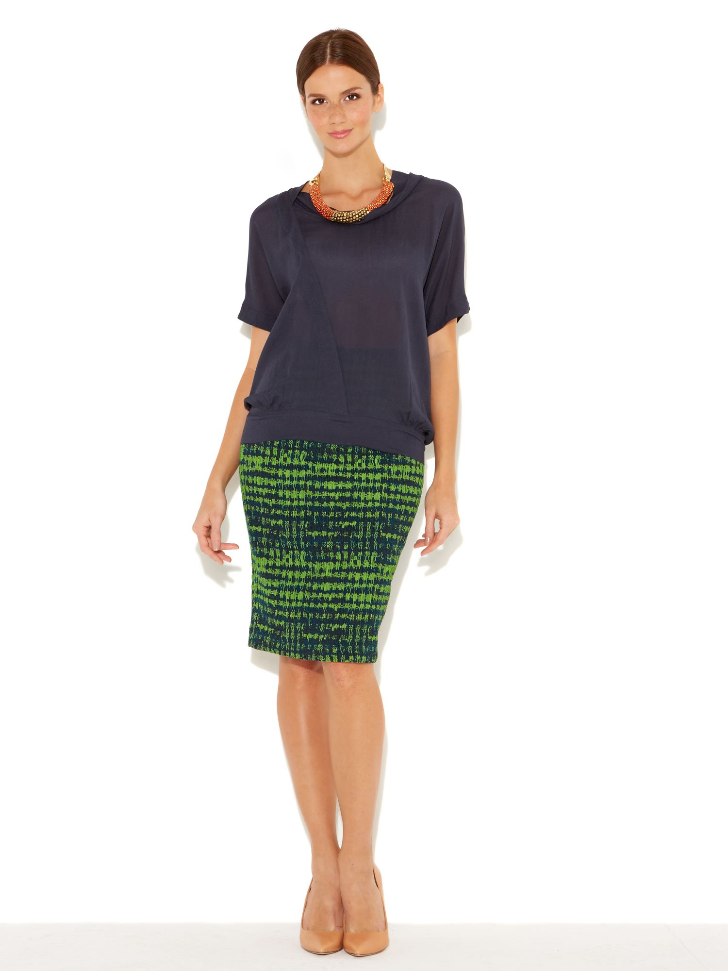 Neon stretch check midi skirt