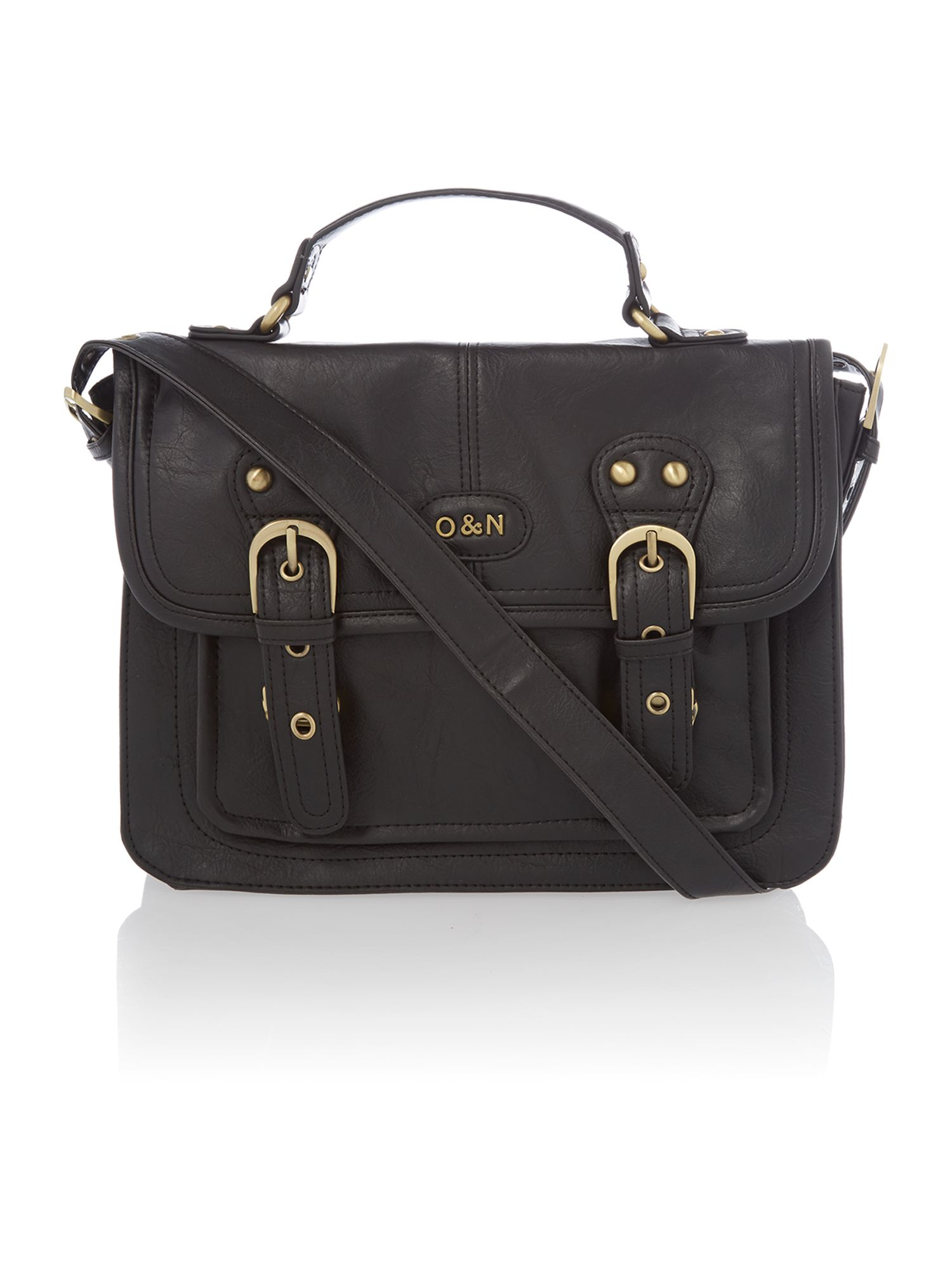 Georgina black mini satchel bag