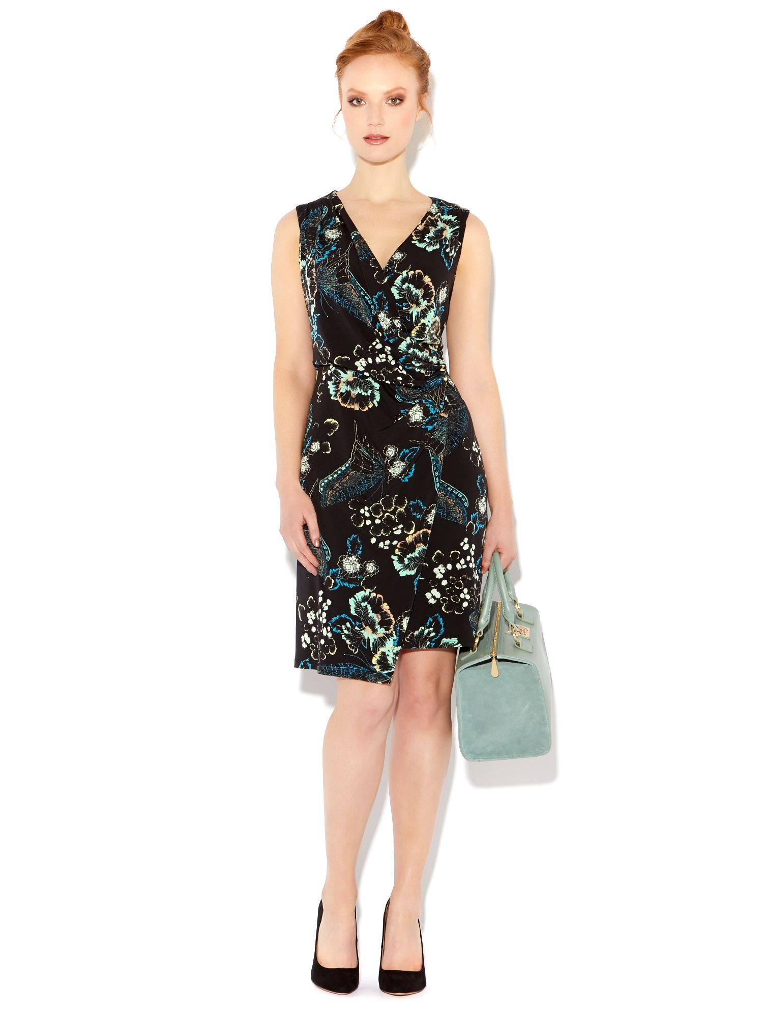Printed asymmetric jersey dress