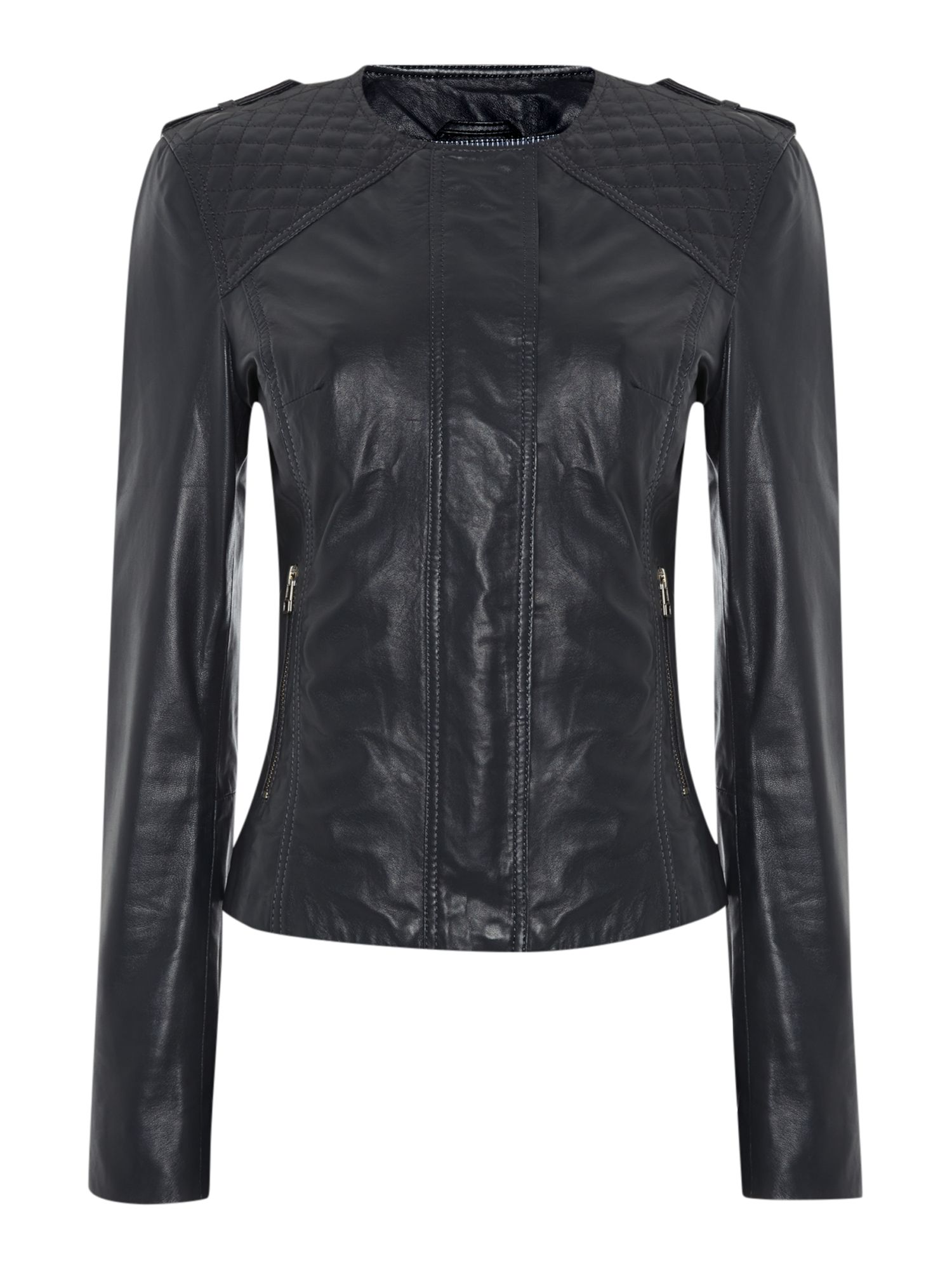 Quilted detail leather jacket