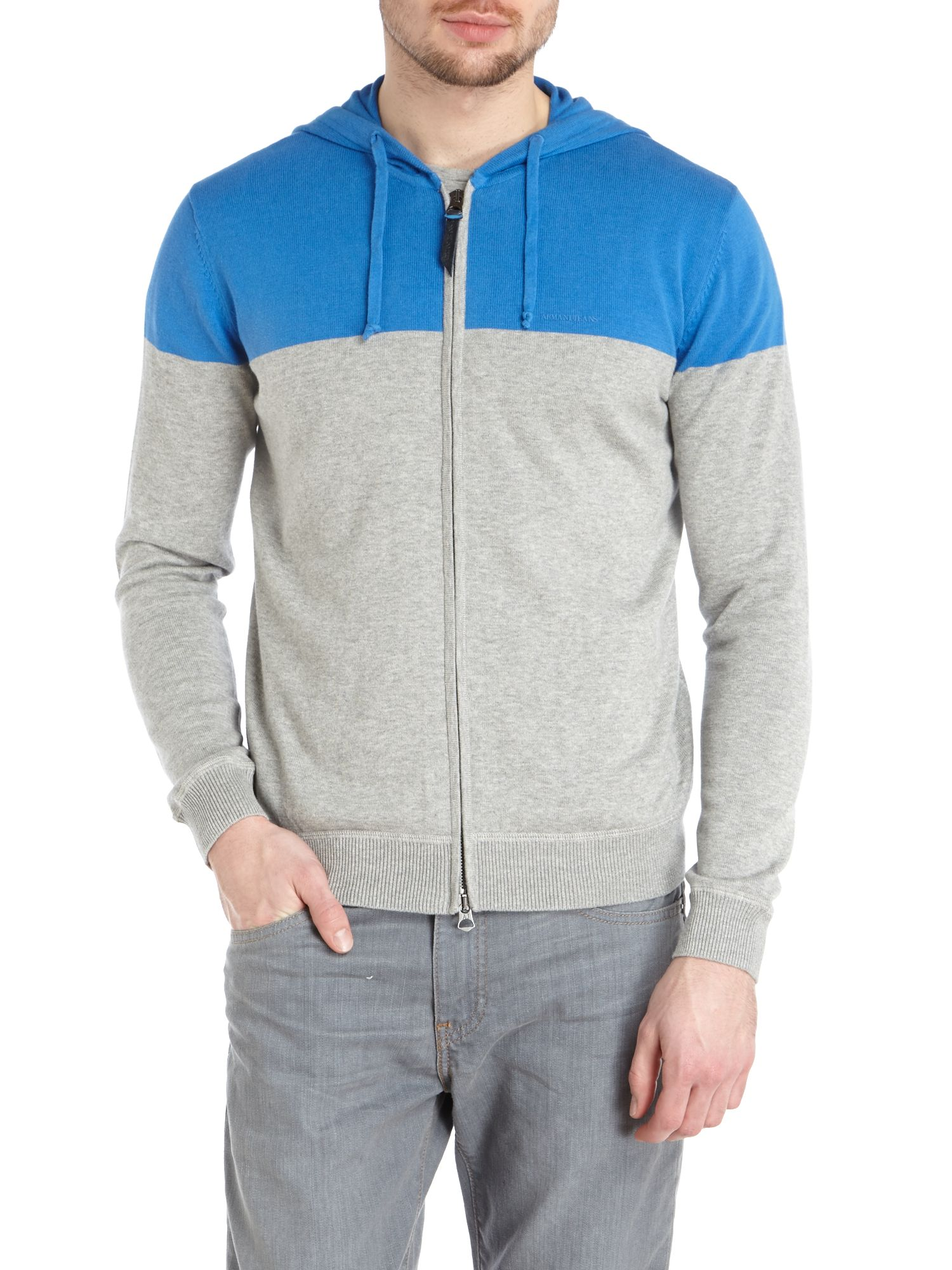 Zip up colour block hoodie