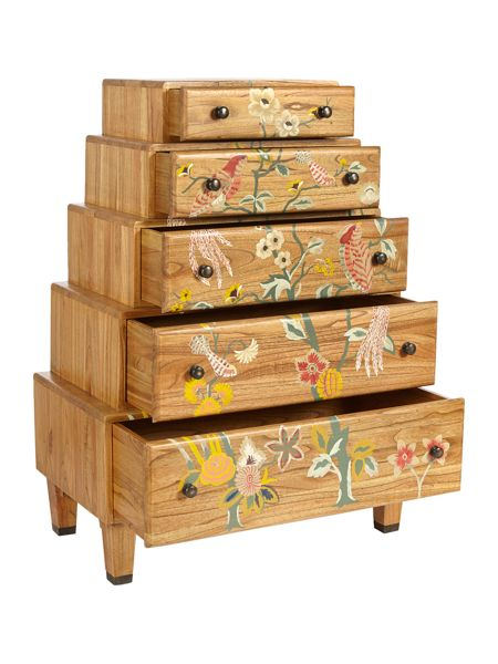 Plume stacked 5 drawer chest