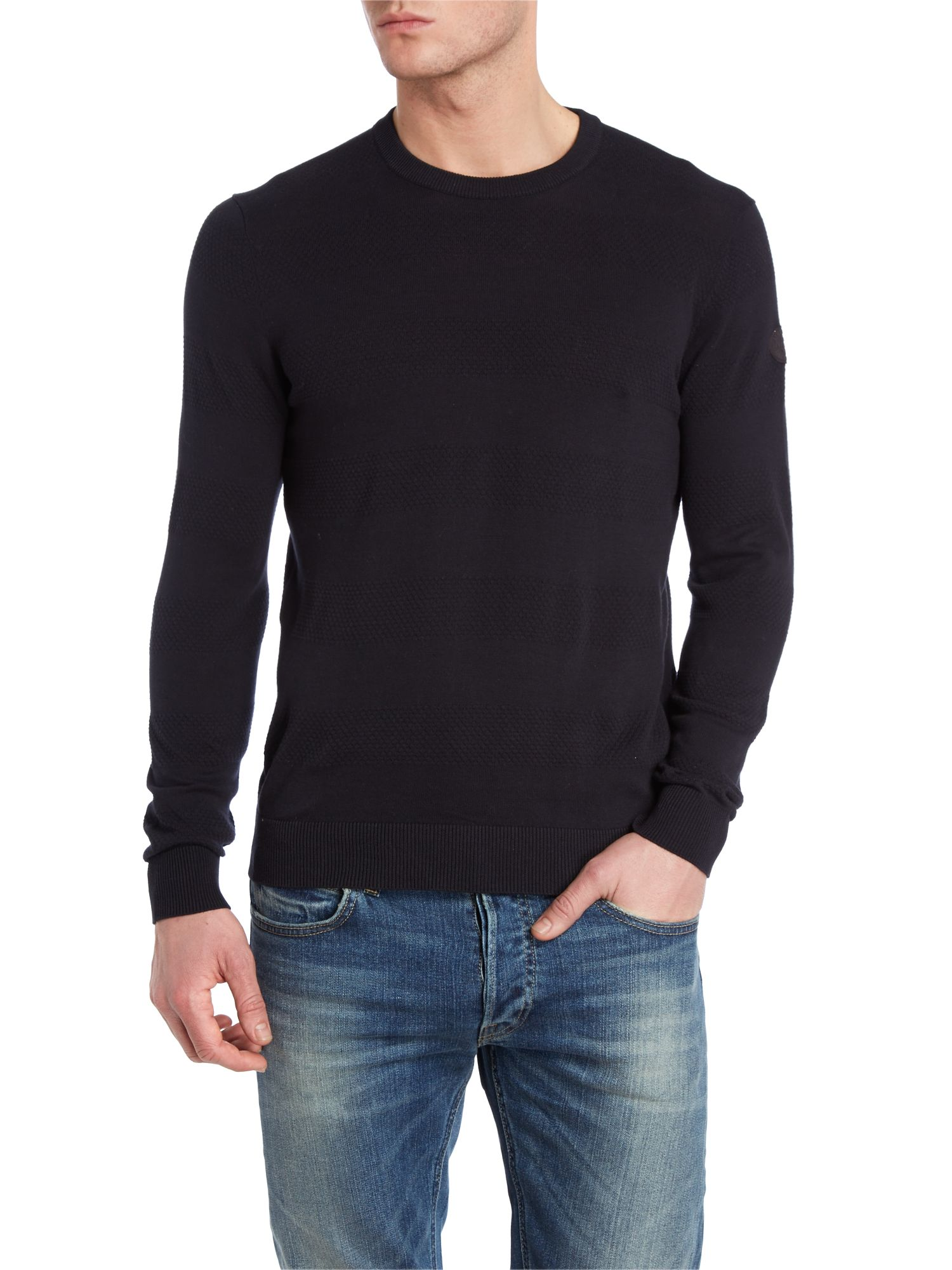 Crew neck mixed stripe knitwear