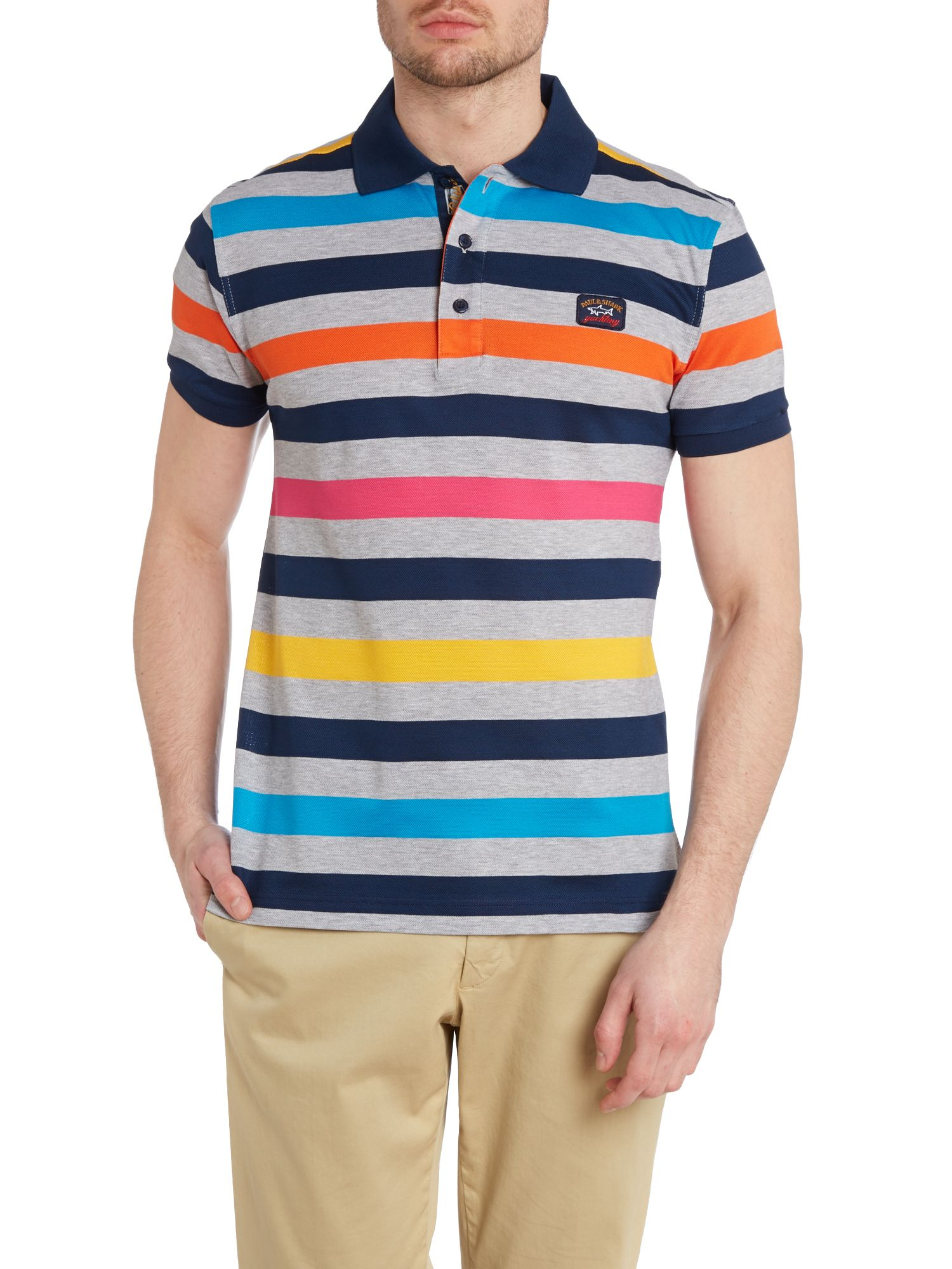 Wide multi stripe polo