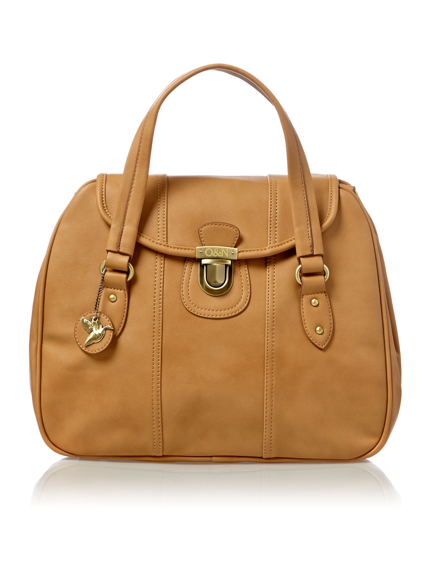 Cristina tan large satchel bag