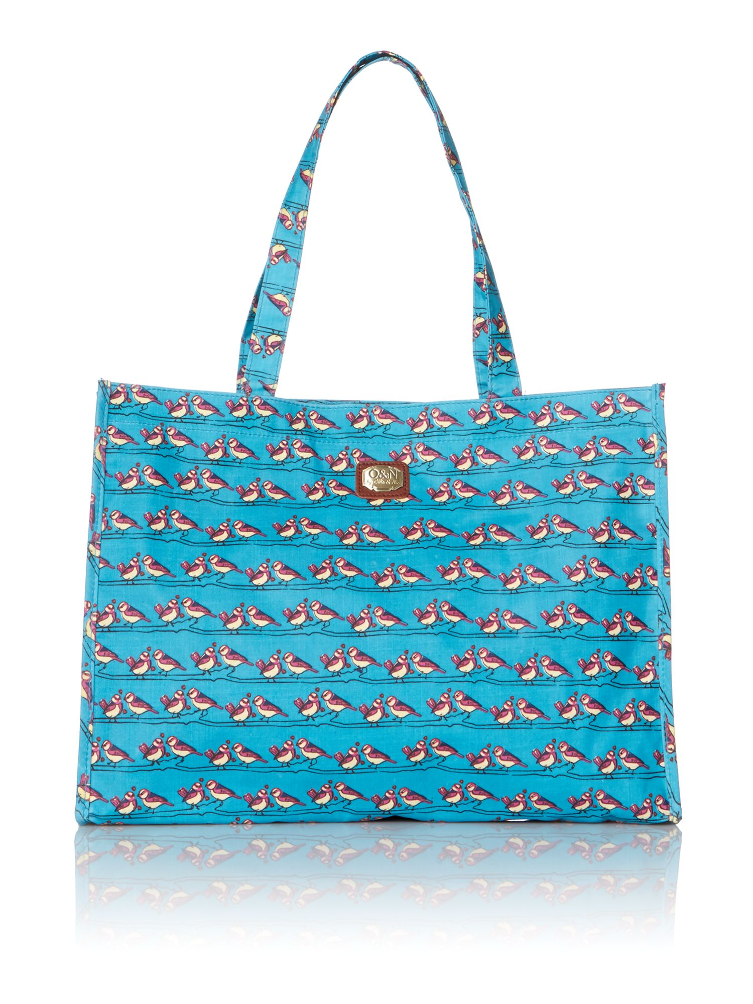 Love birds blue tote bag
