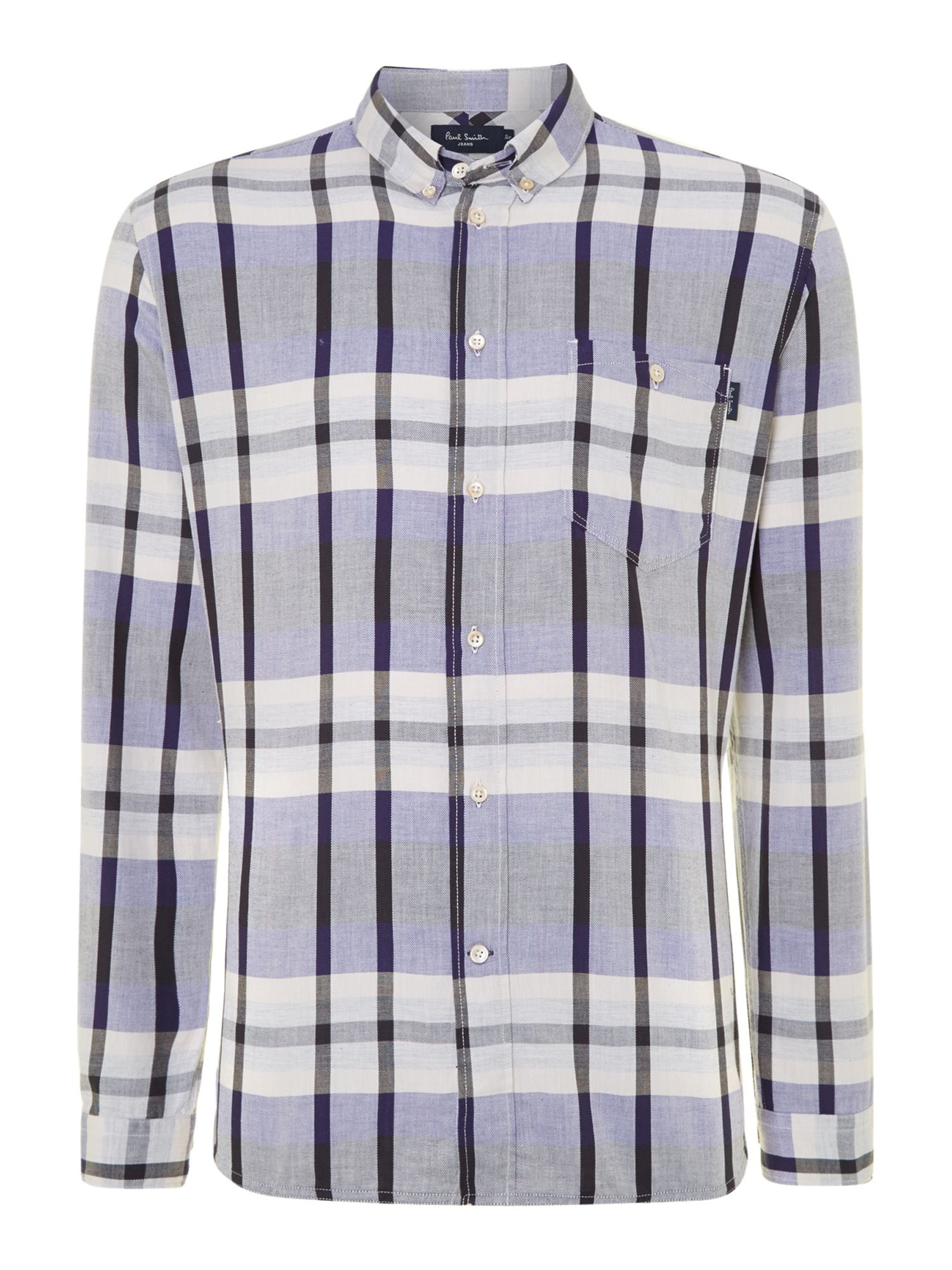 Long sleeve large twill check shirt