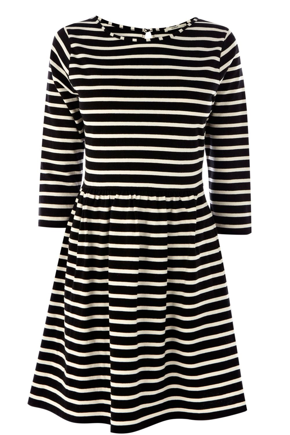 Stripe 3/4 sleeve skater dress