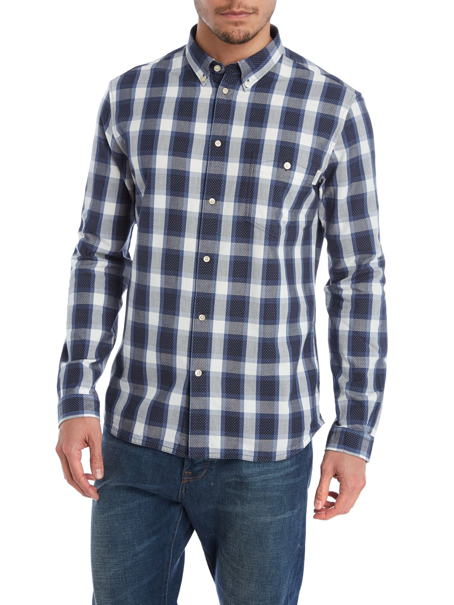 Long sleeve jacquard check shirt
