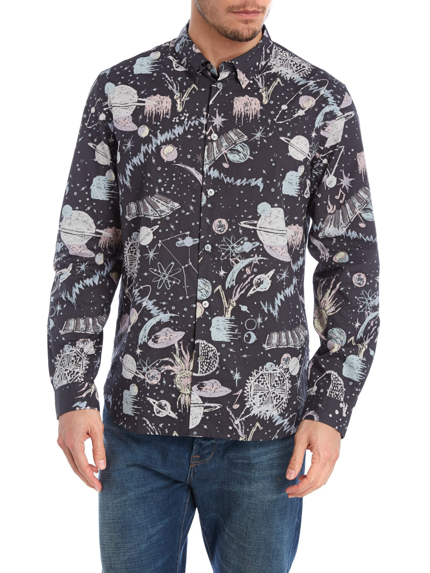 Long sleeve space print shirt