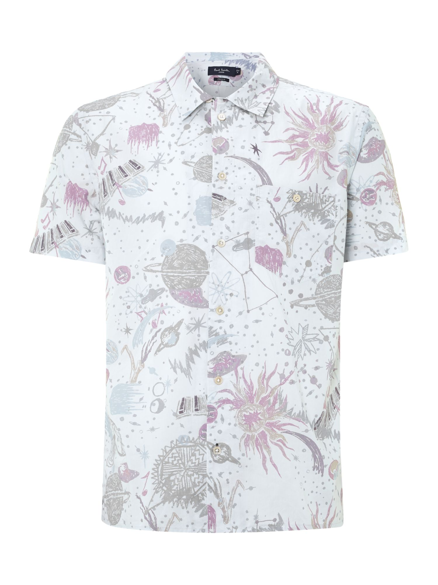 Short sleeve space print shirt