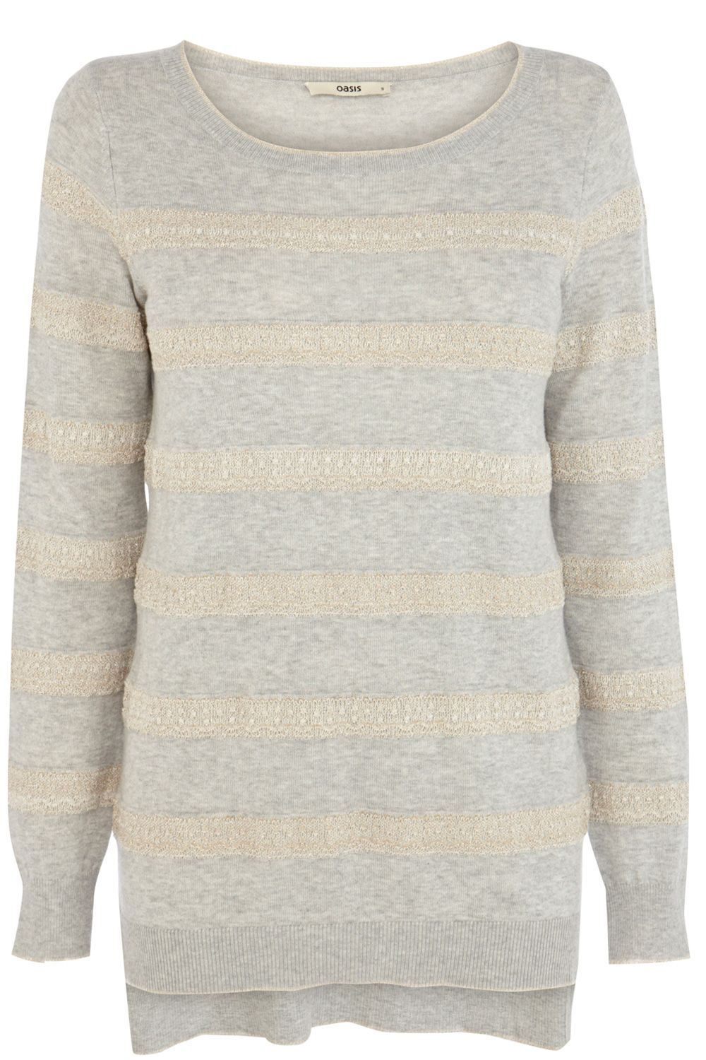 Lace stripe cotton jumper