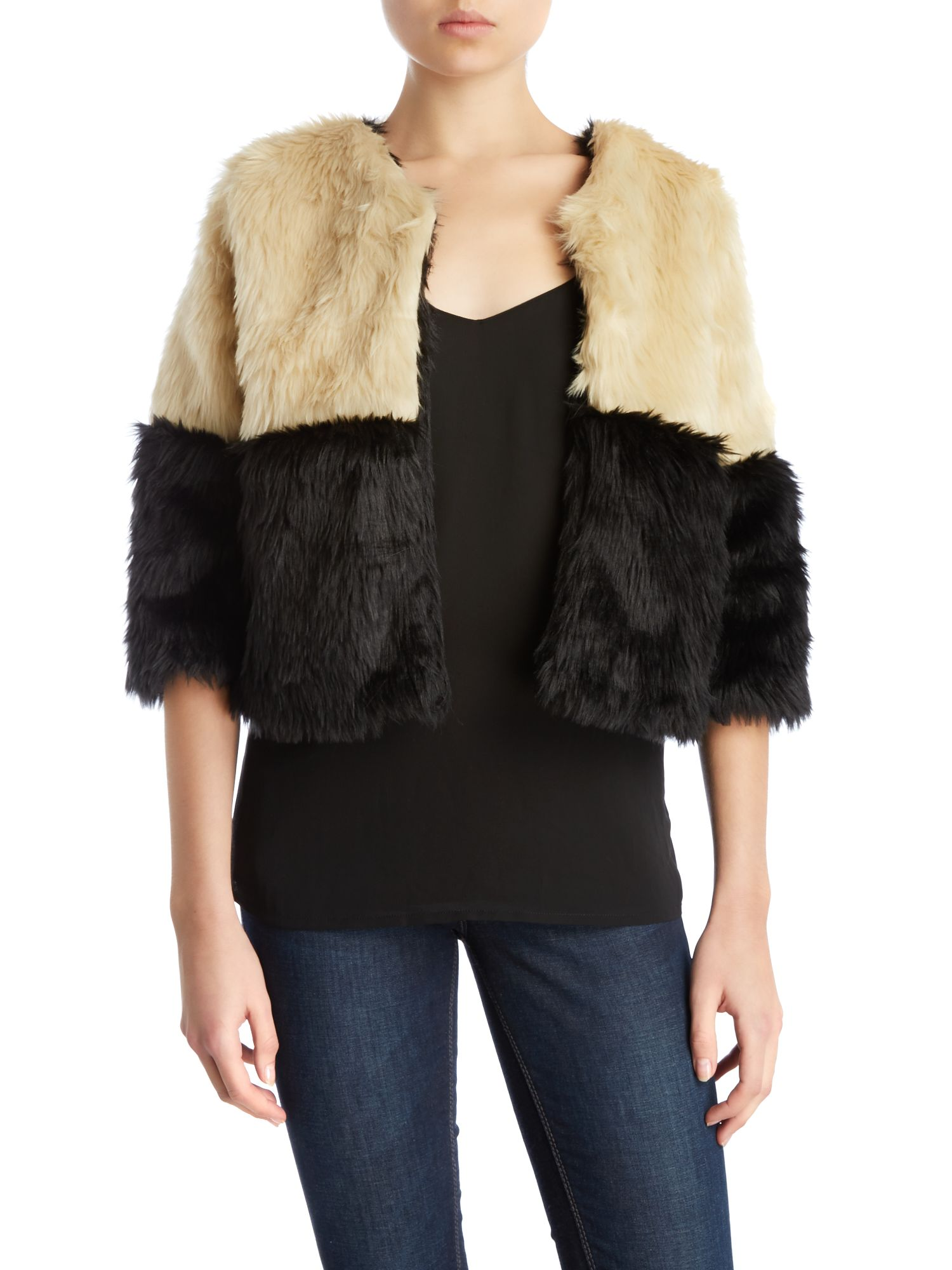 Colour block faux fur crop jacket