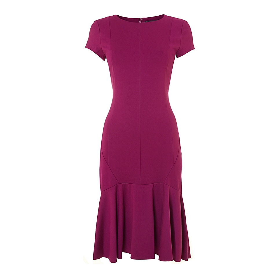 Adrianna Papell Drop Waist Peplum Dress Magenta