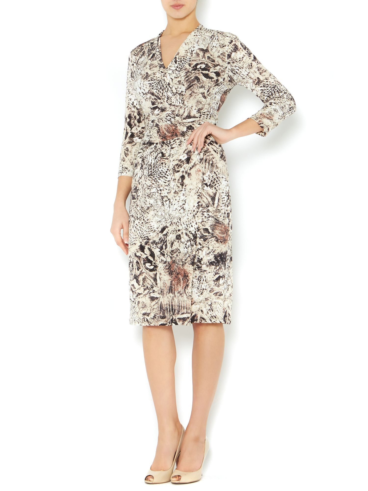 Suzi feathered animal wrap dress