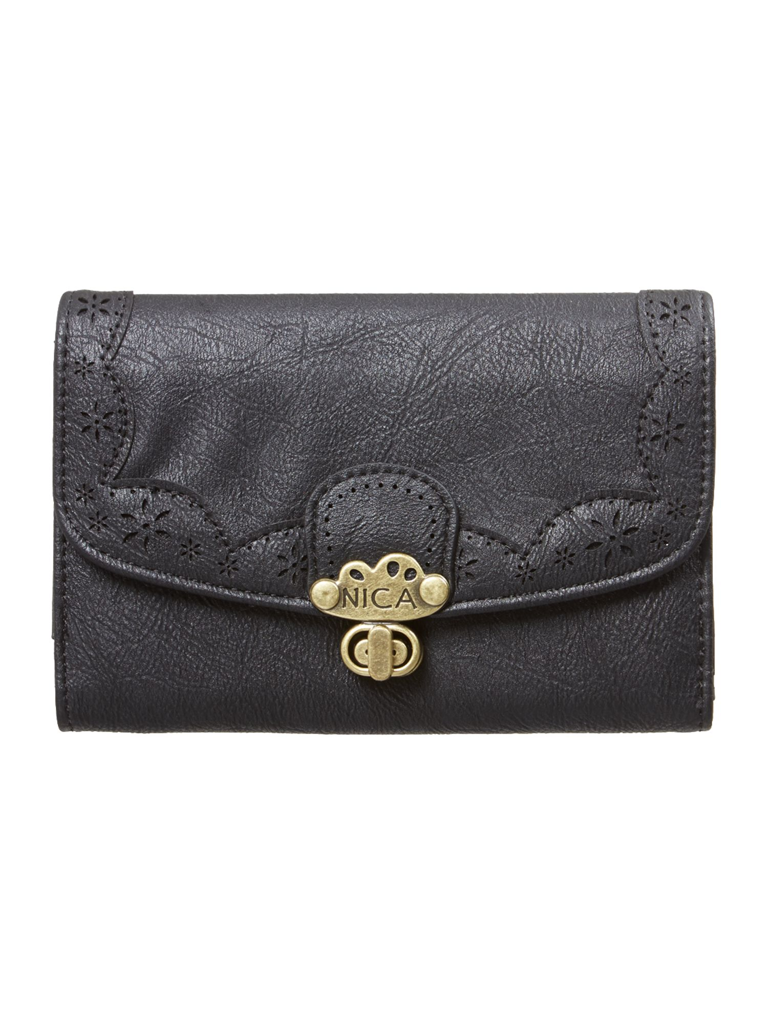 Alicia black medium flap over purse