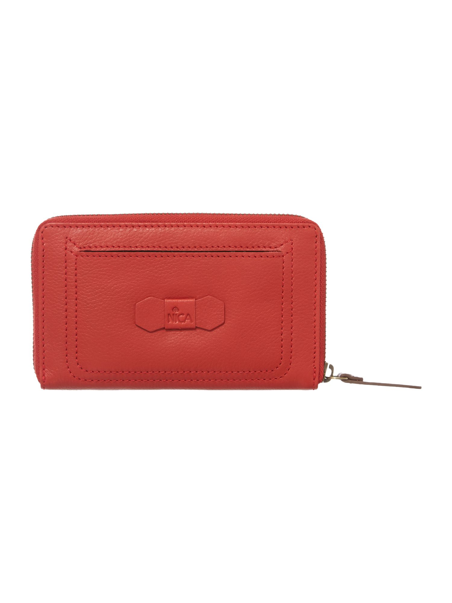 Nikki red large zip around purse