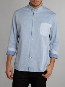 Long sleeve herringbone contrast pocket
