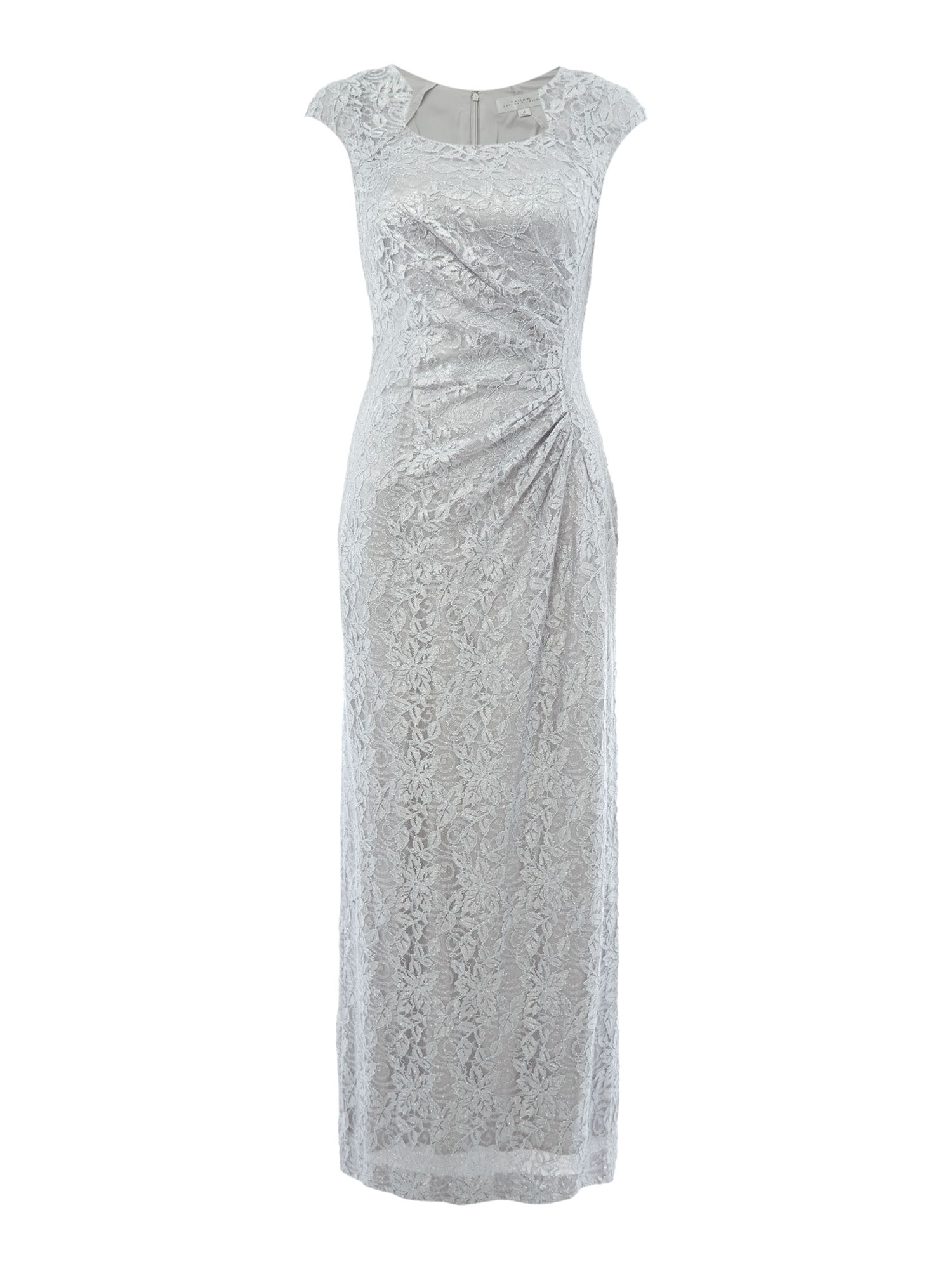 Tahari ASL Sequin Lace Cap Sleeve Gown, Silver Silverlic