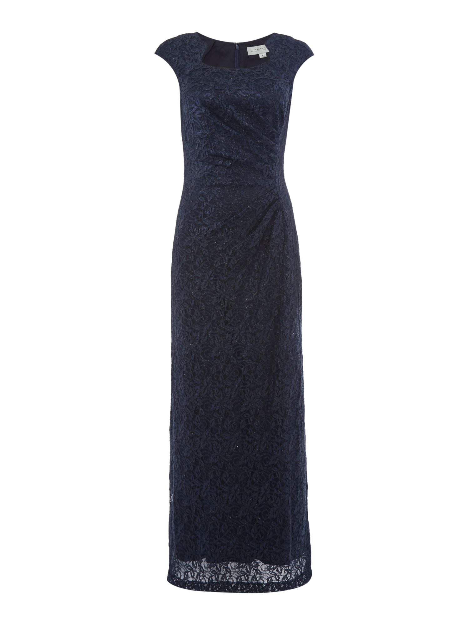 Tahari ASL Sequin Lace Cap Sleeve Gown, Blue