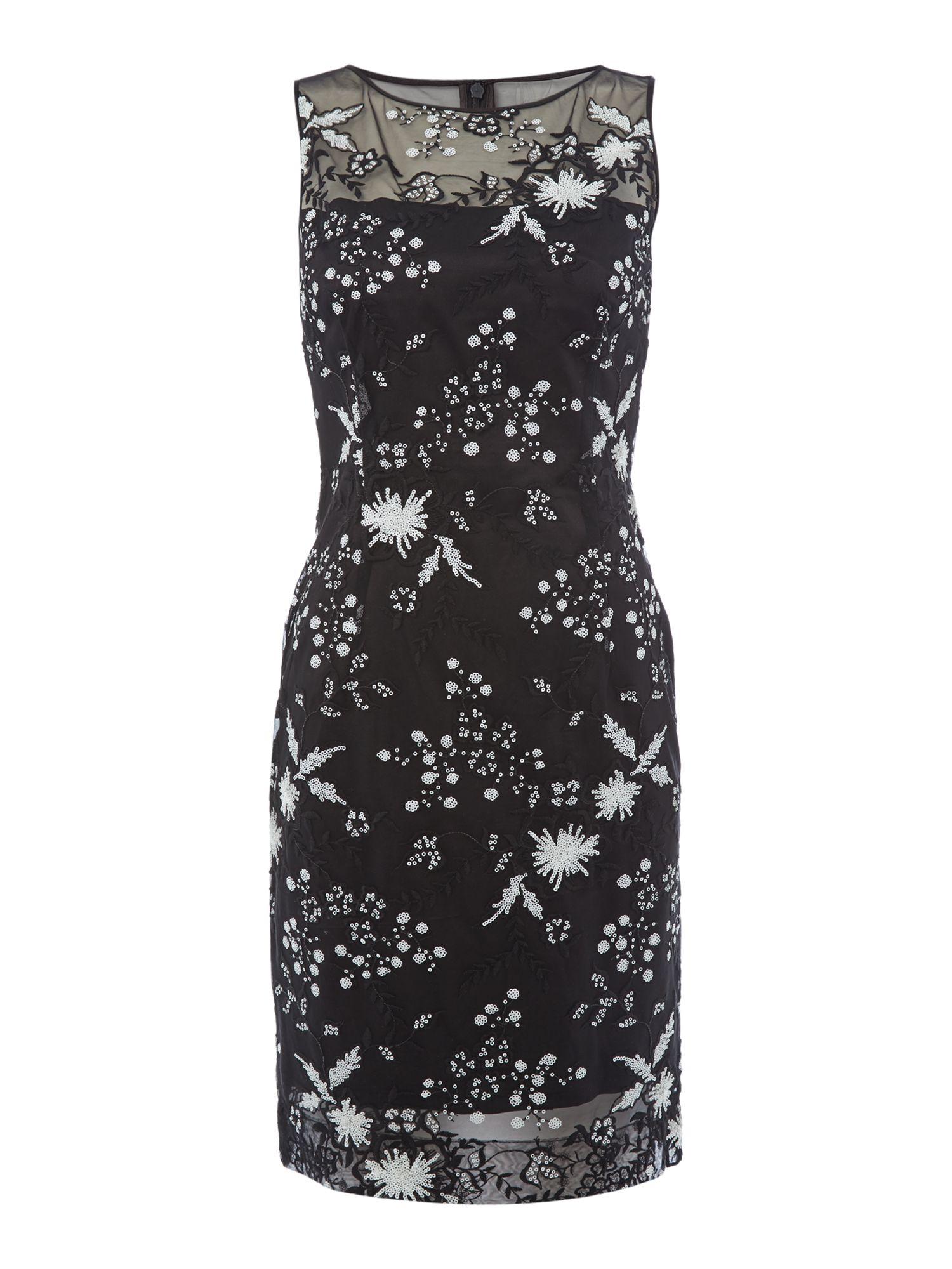 Tahari ASL Ilussion Sequin Embroidered Shift Dress, Black/White