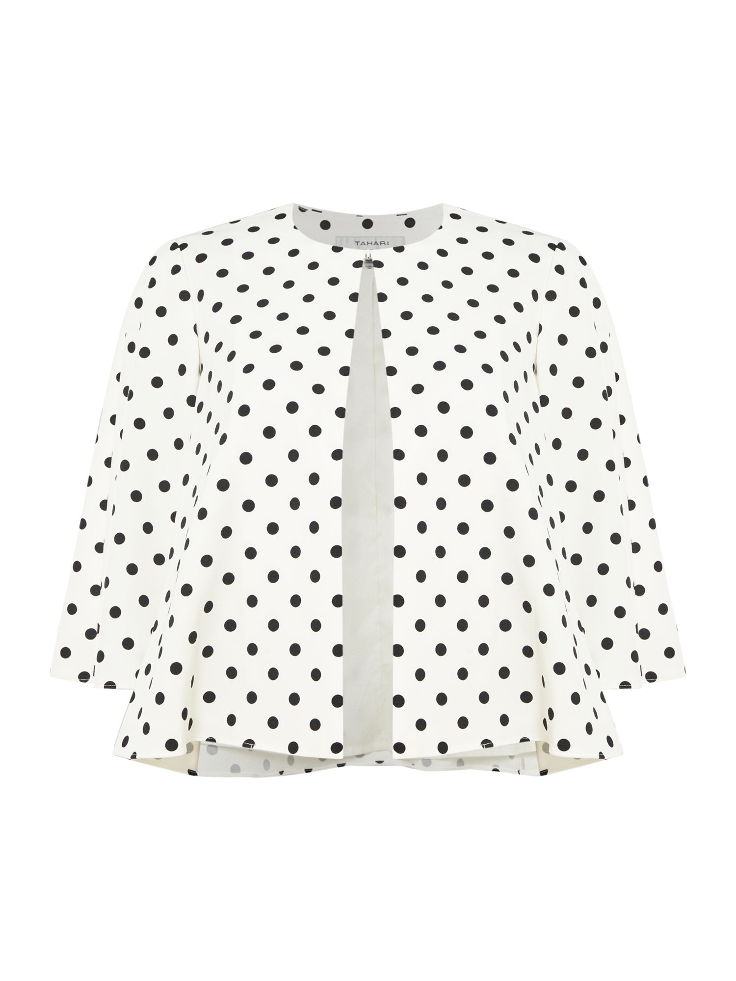 Tahari ASL Polka Dot Print 3/4 Sleeved Topper, Black/White