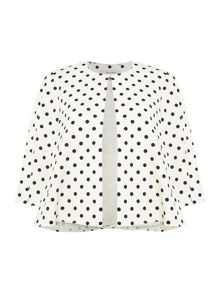 Tahari ASL Polka Dot Print 3/4 Sleeved Topper