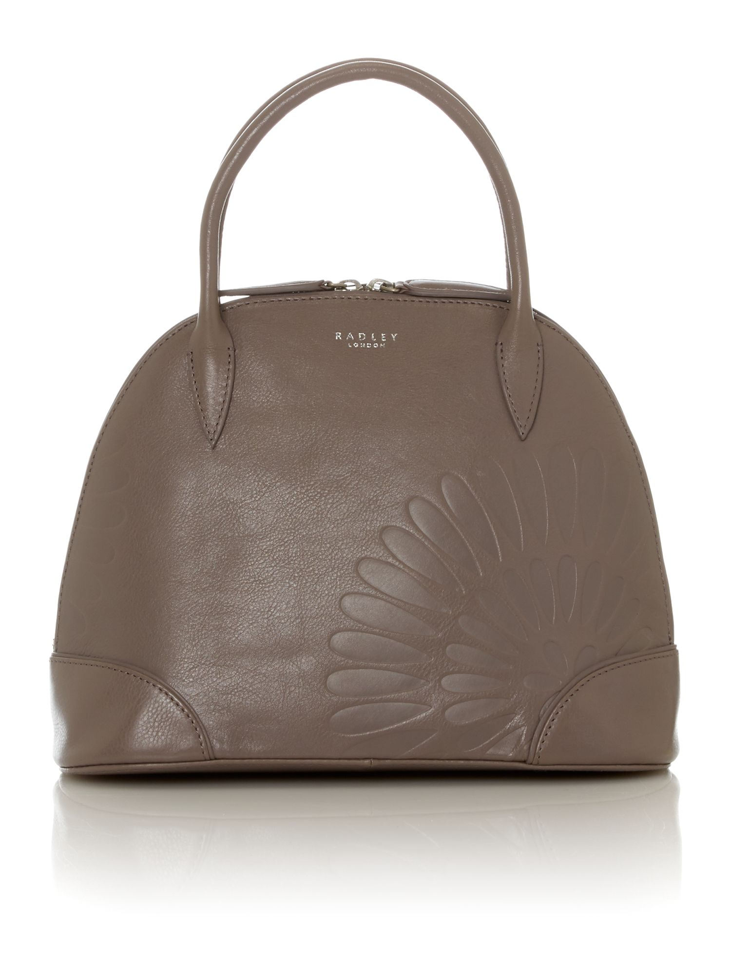 Finch grey small leather tote bag