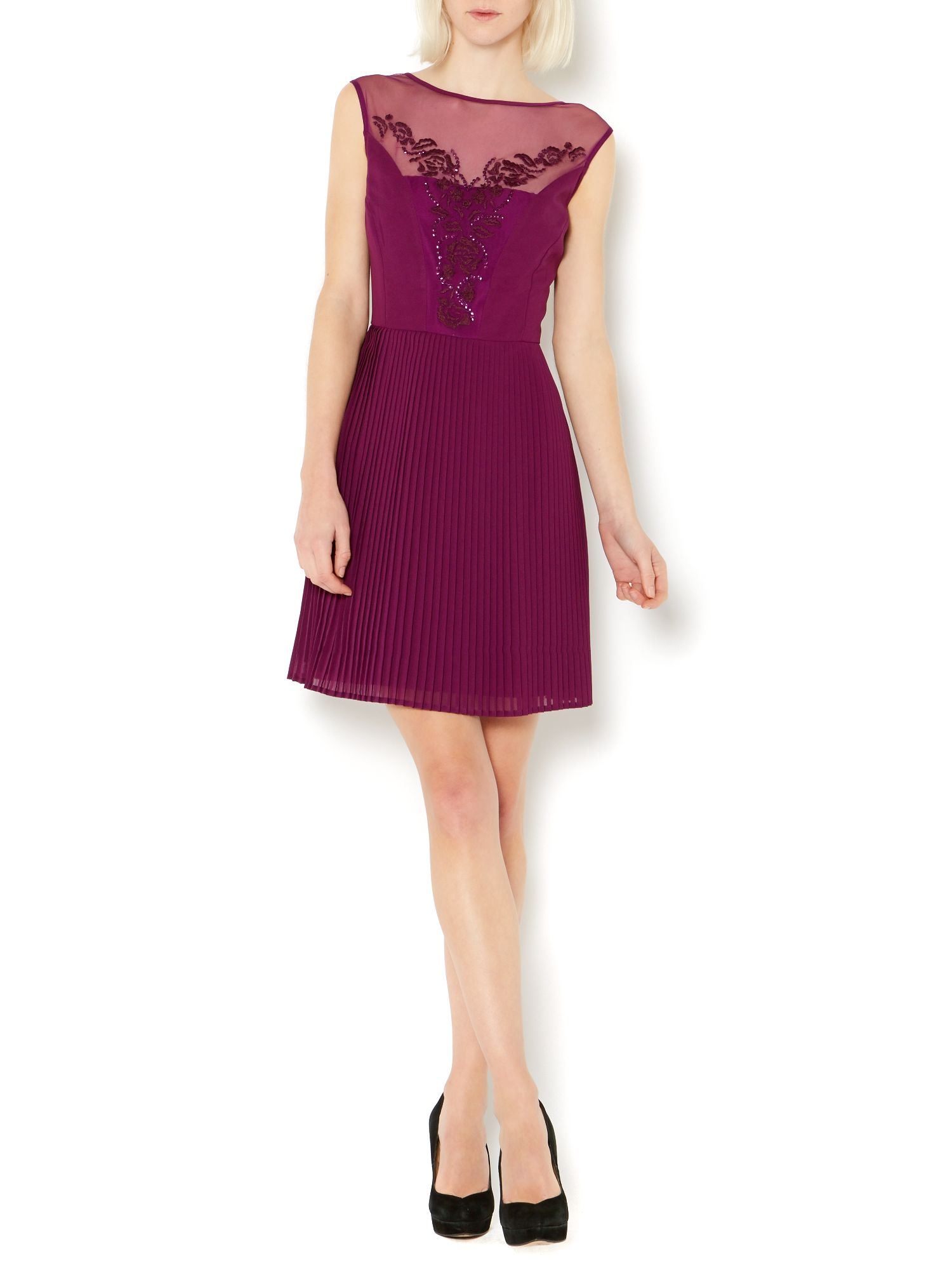 Emboidered pleated dress