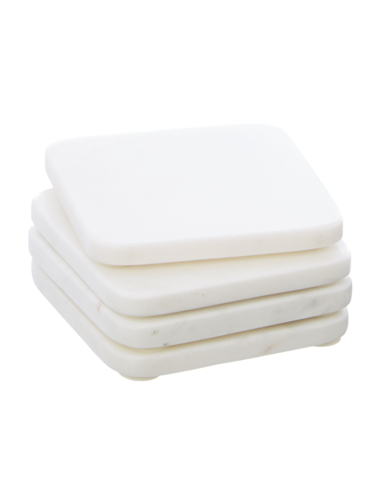 Casa white marble coaster set 4