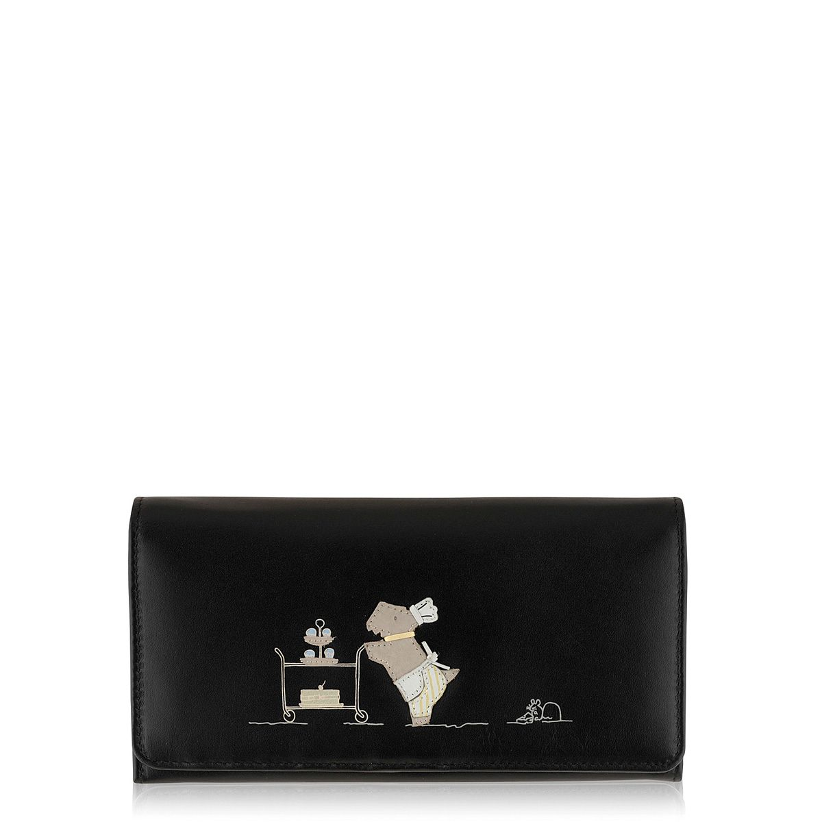 Patisserie Raderlie large black flapover purse