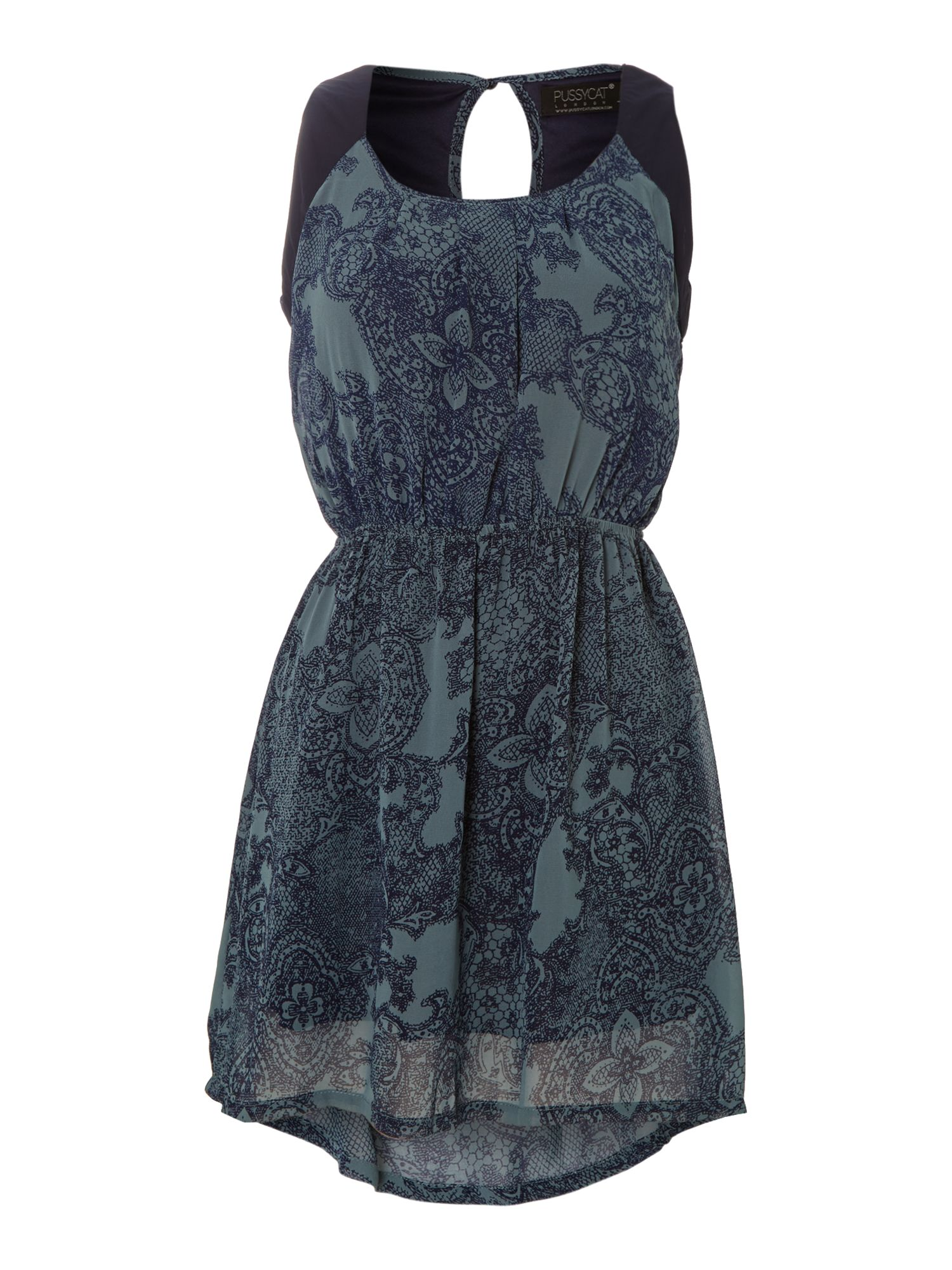 Lace print chiffon dress