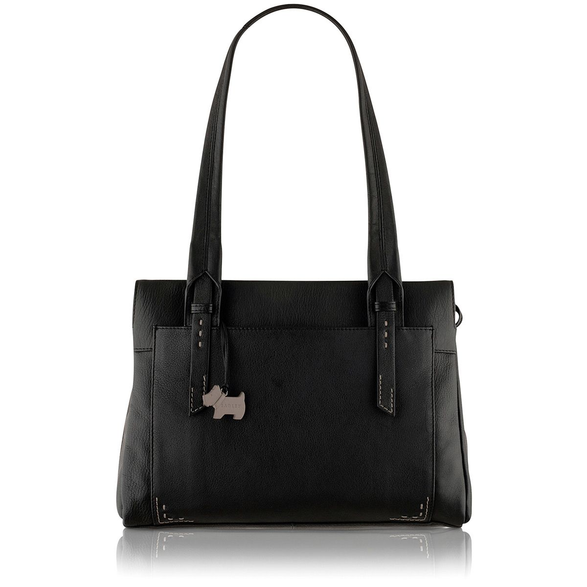 Barnsley black medium leather shoulder bag