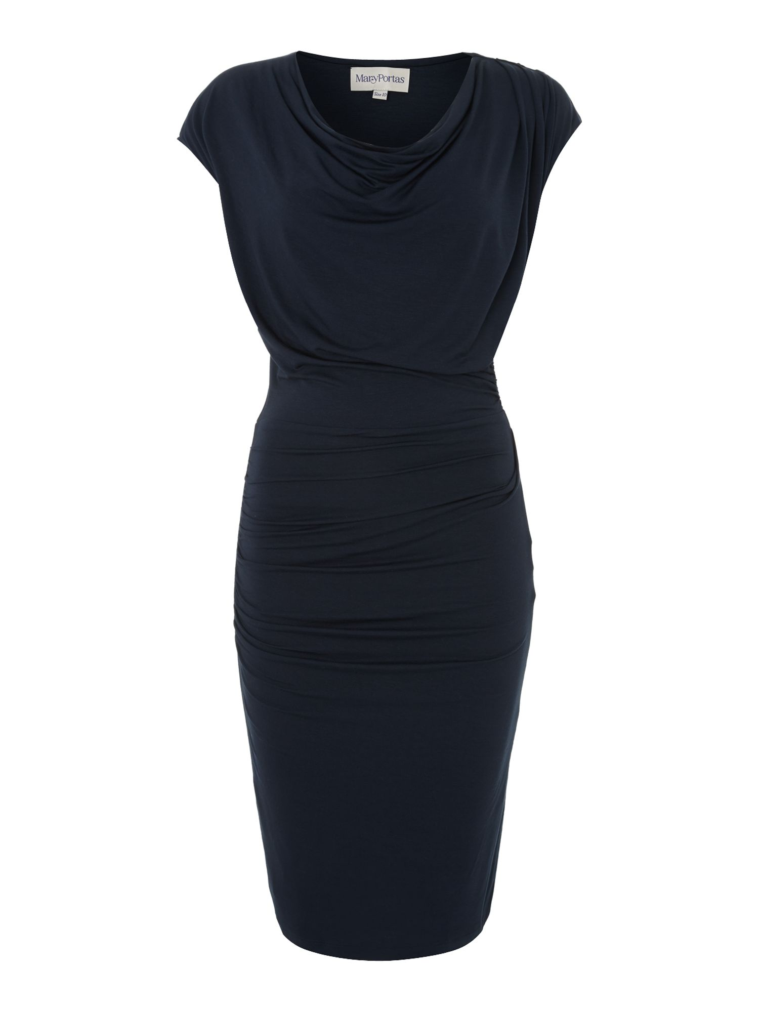 Powermesh cowl twist and tuck dress