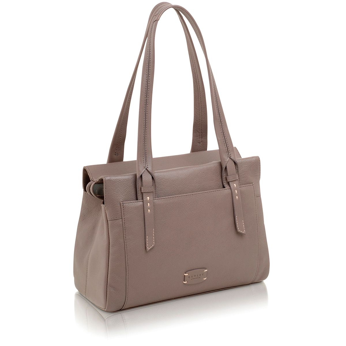Barnsley grey leather medium shoulder bag