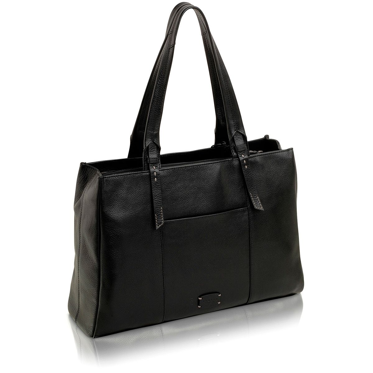 Barnesly large black leather tote bag