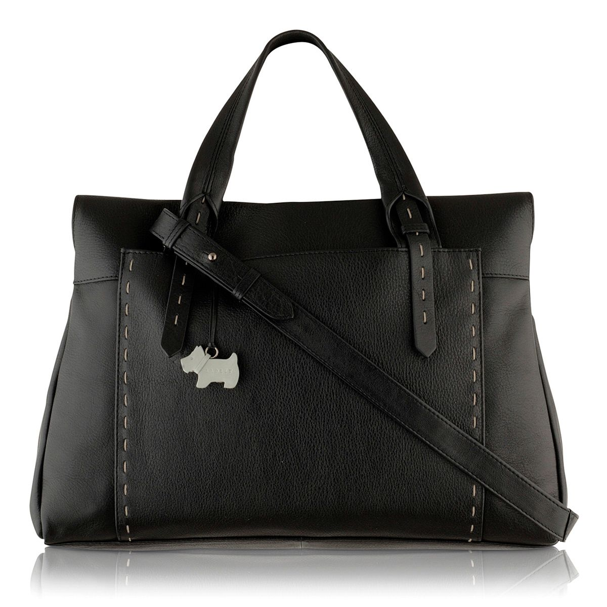 Barnsley large black crossbody leather tote bag