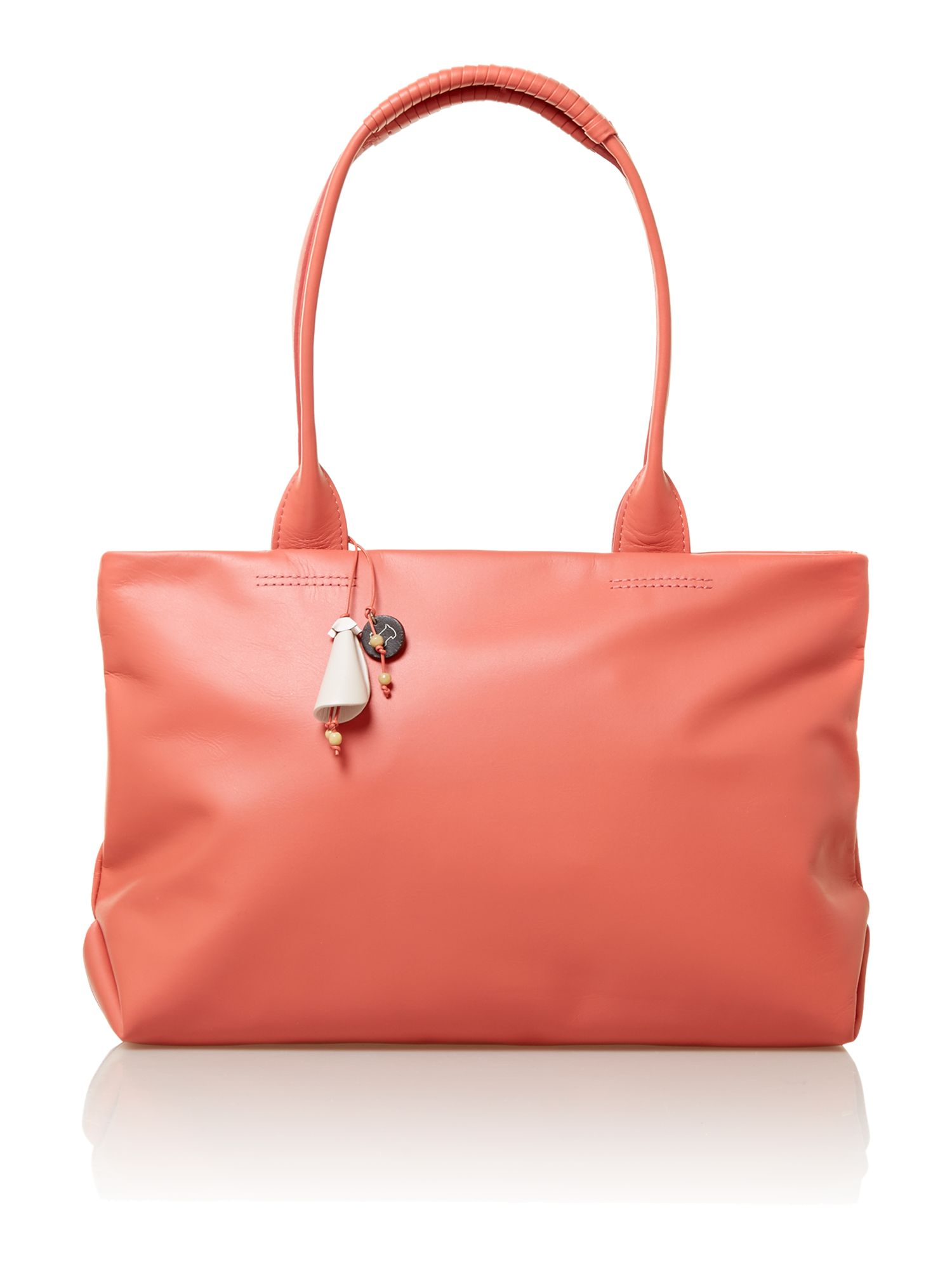Bayford coral pink medium leather tote bag