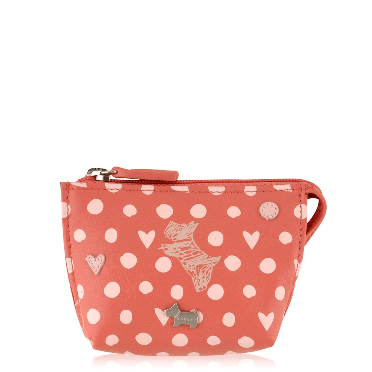 Dog and spot small coral zip top purse