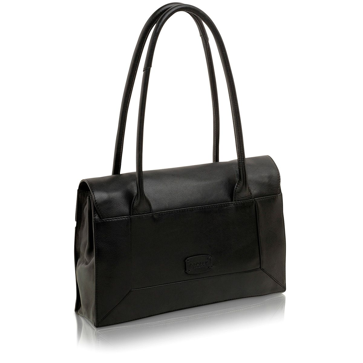 Border black medium flapover leather tote bag