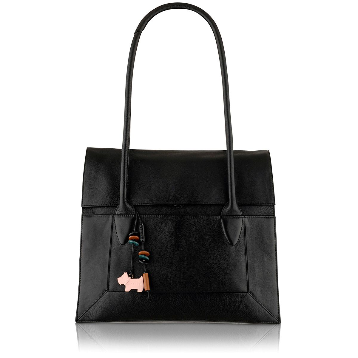 Border black flapover large leather tote bag