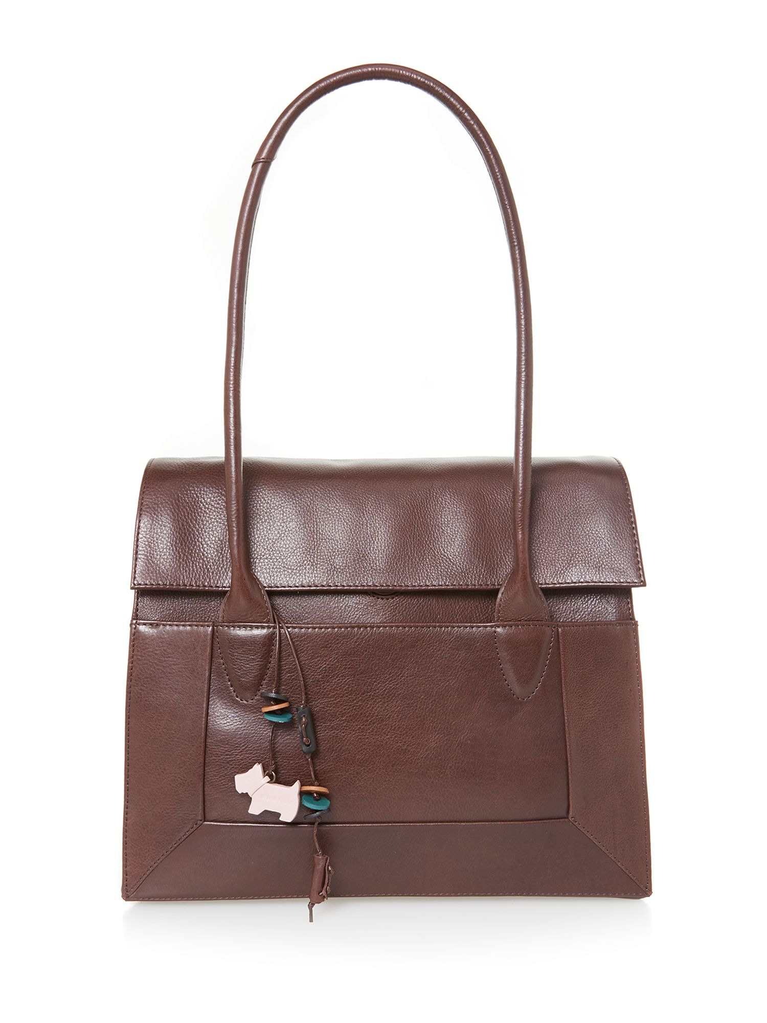 Border large brown flapover tote bag
