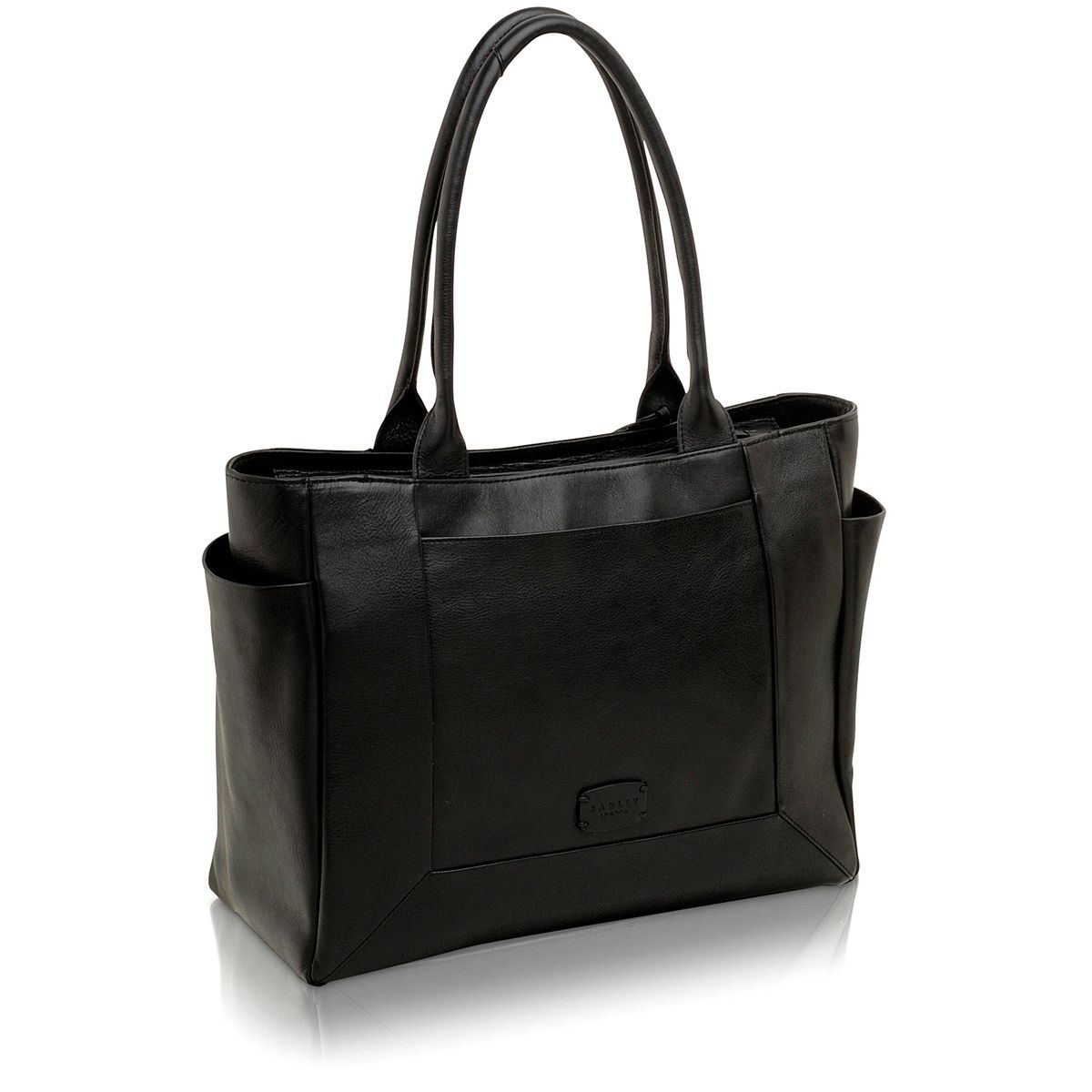Border large black leather tote bag